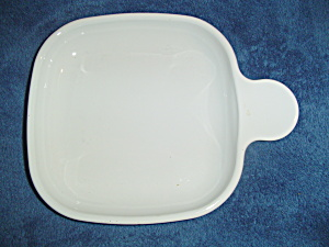 Corning Ware White Square Snack Plates With One Handle