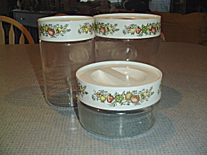 Vintage Pyrex Glass Spice Of Life Canister Set - 3 Jars With Covers