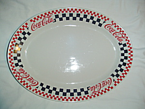 Gibson Coca-cola Oval Platter - Black And Red Checks