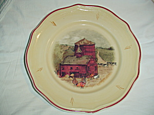 Gibson Farm Scene Red Barn, Silo, Farm Animals Dinner Plates