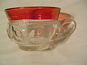 Tiffin/franciscan Kings Crown Cranberry Thumbprint Cups