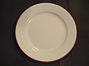 Sur La Table Stoneware White/terra Cotta Lunch/salad Plates