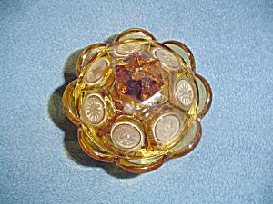 Fostoria Amber Coin Glass Covered Sugar Bowl (Image1)