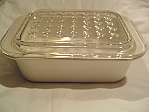Corning Ware White Frost Small Rectangular Baking Pan W/divet Cover