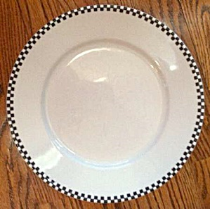 Crate & Barrel White Stoneware w/Black Check Border Dinner Plates (Image1)