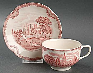 Johnson Bros Old Britain Castles Pink Cups/Saucers Crown Stamp (Image1)