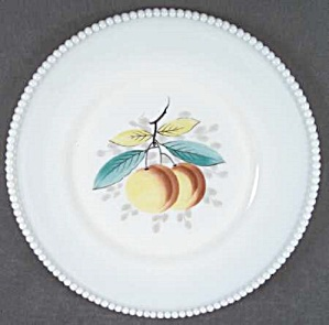 Westmoreland Hand Painted Beaded Edge Dinner Plate - Peach
