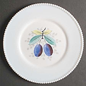 Westmoreland Hand Painted Beaded Edge Dinner Plate - Plums