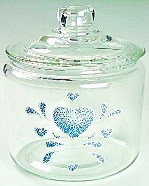 Blue Hearts Clear Glass Covered Cookie Jar Corelle