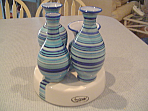 Tabletops H2o Blue Stripe Centerpiece Vases On Pedestal Unique Gift