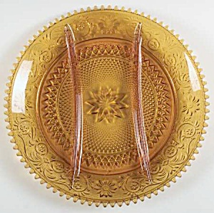 Indiana Glass Tiara Amber Sandwich 3 Compartment Relish Plate