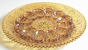 Indiana Glass Tiara Amber Sandwich Deviled Egg Plate