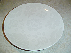 Martha Stewart Mse Beige/gray Flowers And Leaves Dinner Plates