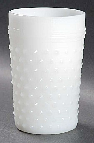 Vintage Anchor Hocking White Milk Glass Hobnail Flat Tumblers - Mint