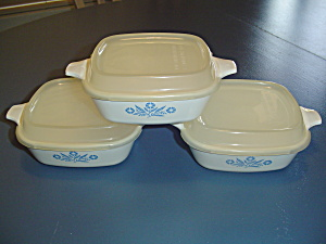 Corning Ware Cornflower Blue Petite Pans Covered Set Of 3