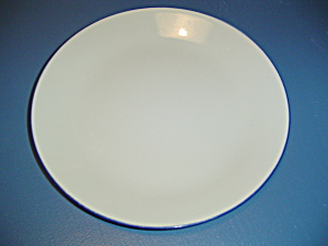 Corelle Hoops Cobalt Blue Trim On Tan Dinner Plates