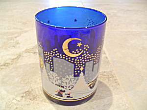 Noritake Twas Night Before Christmas Double Old Fashioned Glass Cobalt