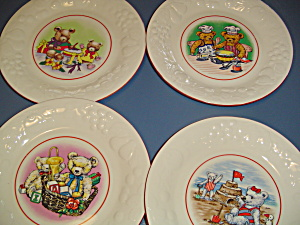 Ute Teddy Bear Dinner Plates Set Of 4 Different Bears Lot One Price
