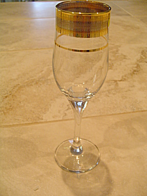 Unknown Maker Champagne Flutes Wide Gold Scrolled Band