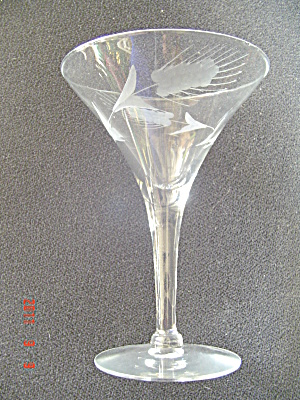 Unknown Maker Crystal Cattail Etched Martini Glasses Size 3