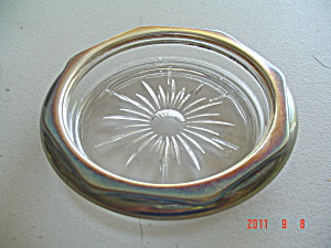 Unknown Maker Crystal Sterling Rimmed Coasters