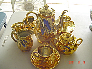 Gold Painted Complete Small Tea Set From Japan