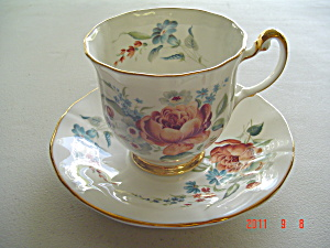 Royal Adderley Peach Colored Rose Cup and Saucer Set (Image1)