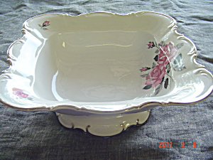 Hutschenreuther Vintage Pink Roses Large Square Serving Bowl
