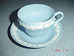 Wedgwood Blue (Lavender) Embossed Queen's Ware Cups/saucers
