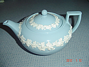 Wedgwood Blue (Lavender) Embossed Queen's Ware Tea Pot