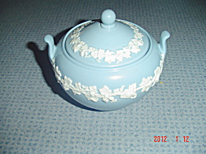 Wedgwood Blue (Lavender) Embossed Queen's Ware Covered Sugar