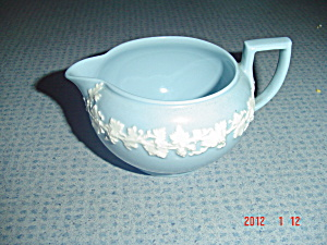 Wedgwood Cream On Blue (Lavender) Embossed Queen's Ware Creamer