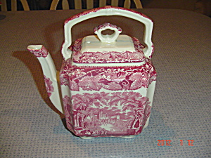 Masons Vista Pink Tea Pot W/top Handle And Handled Lid
