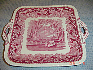 Masons Vista Pink Gadroon Edge Square Handled Plate/tray