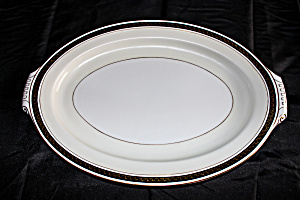 Vintage Narumi Black Stone Greek Key Oval Platter