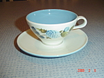 Click here to enlarge image and see more about item 1048: Iroquis Blue Vineyard Cups and Saucers