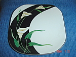 Click here to enlarge image and see more about item 1159: Sango Black Lilies Square Dinner Plates