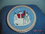 Click here to enlarge image and see more about item 1176: Debbie Mumm Snowman Salad Plate Scarecrow & 2 Kids