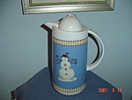 Click here to enlarge image and see more about item 1190: Debbie Mumm Snowman Thermal Server