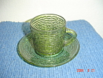 Click here to enlarge image and see more about item 1349: Fire King Soreno Green Cups and Saucers