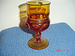 Indiana Glass Tiara Thumbprint Amber Wine Goblet