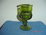 Indiana Glass Tiara Thumbprint  Green Wine Goblets