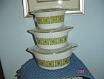 Pyrex Green Print Set of 3 Covered Stacking Casseroles