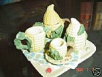 Click here to enlarge image and see more about item 1456: Miniature Resin Corn on the Cob Tea Set