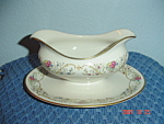Click here to enlarge image and see more about item 8089: Lamberton Ivory Dorthea Gravy Boat w/Attached Tray