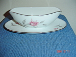 Noritake Rosemarie Gravy Boat w/Attached Tray