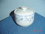 Click here to enlarge image and see more about item 2279: Farberware Blue Scroll Covered Sugar Bowl