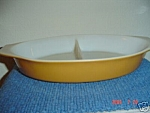 Pyrex Butterfly Gold Divided Oval 1.5 Qt. Casseroles