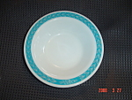 Click here to enlarge image and see more about item 2671: Pyrex Turquoise Laurel or Autumn Bands Desert Bowl