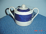 Click here to enlarge image and see more about item 2786: Interiors Carpet Blue Covered Sugar Bowl
